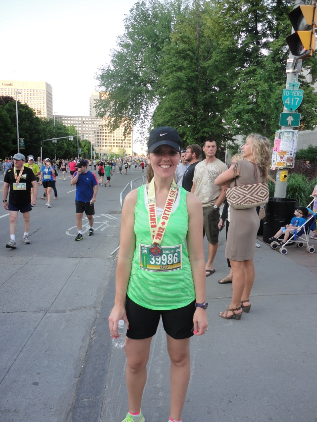 Proudly sporting my finisher's medal after the Ottawa 10k in 2011