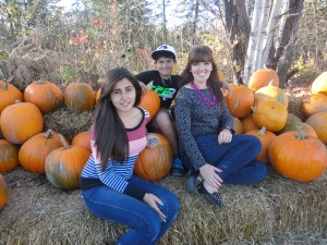 The kids and I at the pumpkin patch - 2013.