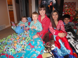 Sleepover fun on Christmas Eve.
