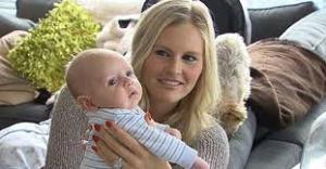 Martine Forget, fiancée to Toronto Maple Leaf's goalie Jonathan Bernier, and their newborn son, Tyler.
