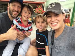 Anaheim Ducks' goalie Jason LaBarbera with his wife Kodette, and sons Easton and Ryder