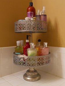 A pretty bathroom storage solution.