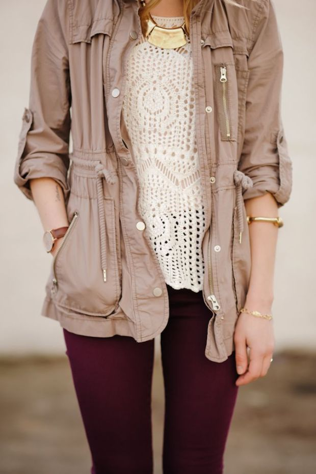 A neutral military-style jacket, beautiful lace shirt, aubergine pants, and dainty gold jewellery