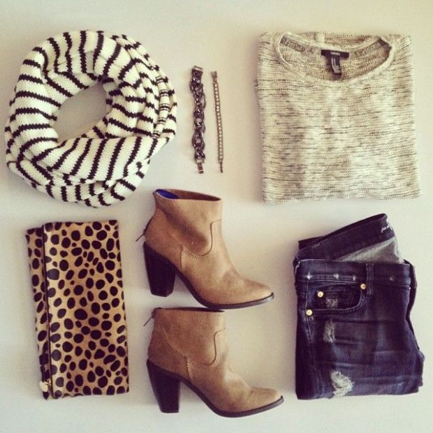 A collection of some of my fave looks - stripes, leopard, booties, distressed jeans, a bit of bling, and neutrals that go with everything.