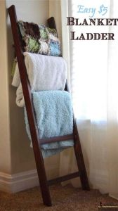 A lovely way to store throw blankets in the living room.