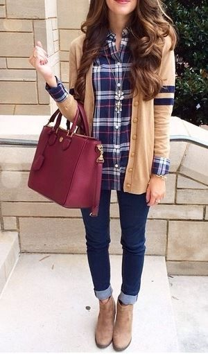 Plaid shirt, cardigan, skinny jeans, beautiful handbag, and suede booties