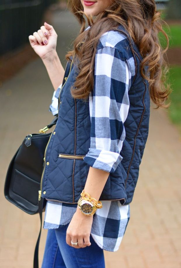 I'm having total curly hair envy.  Plus I love how this plaid shirt looks with the quilted vest and gold watch.