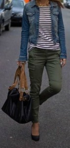 I love thes cargo style skinnies paired with stripes and denim.