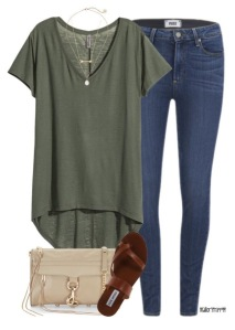 Love olive green as a neutral with denim and cute sandals.
