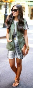 I love the look of this military-style vest over a simple striped dress.