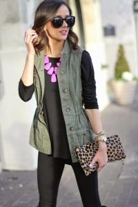 An olive green vest is so versatile!  I love the pop of pink and leopard too!