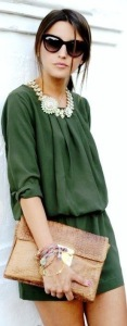This romper is super cute especially with the statement necklace and big sunnies as accessories.
