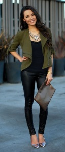 A super cute green blazer finishes off a basic black look.