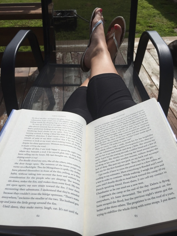 Reading on the deck.