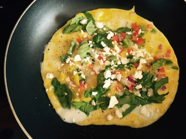 Veggie and spinach omelette