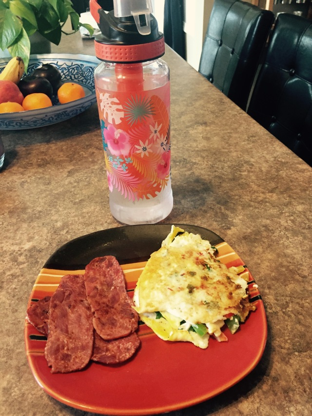 Breakfast and the first bottle of water for the day