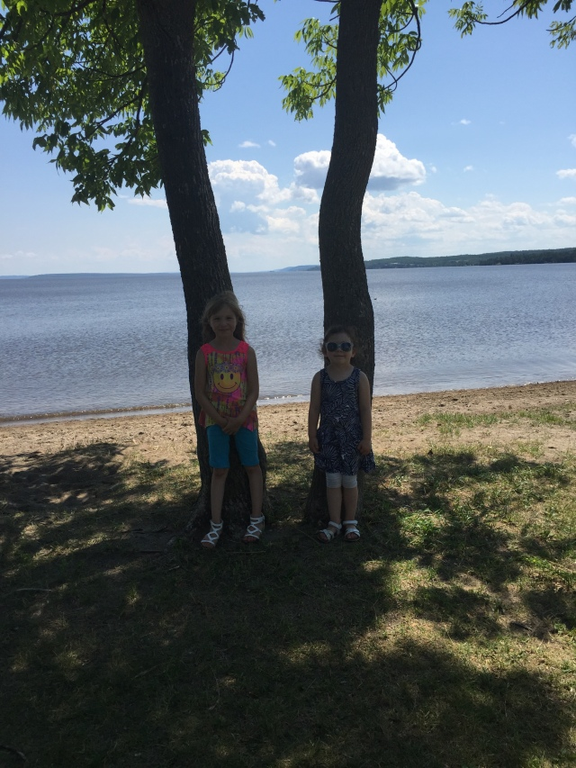 My sweeties by the lake near the park.