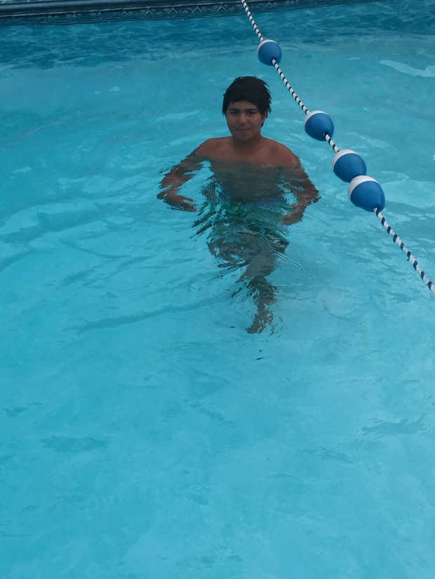 We couldn't keep this kid out of the pool if we tried!